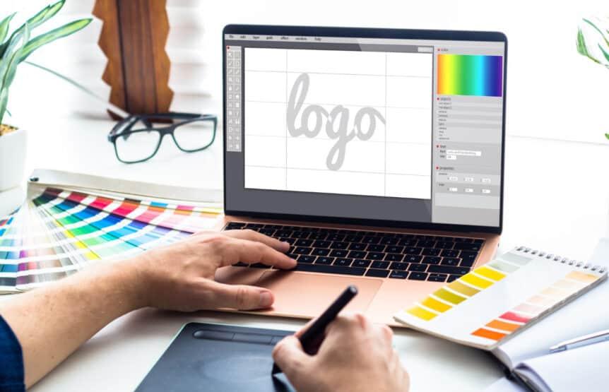 graphic design desktop with laptop tools